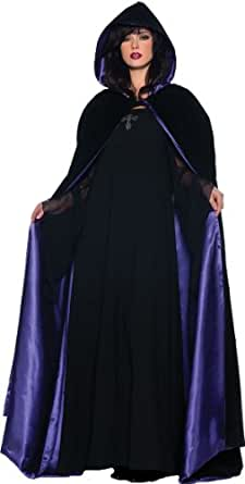 Underwraps Gothic Deluxe Velvet & Satin Cape Vampire Costume, Black/Purple, 63""