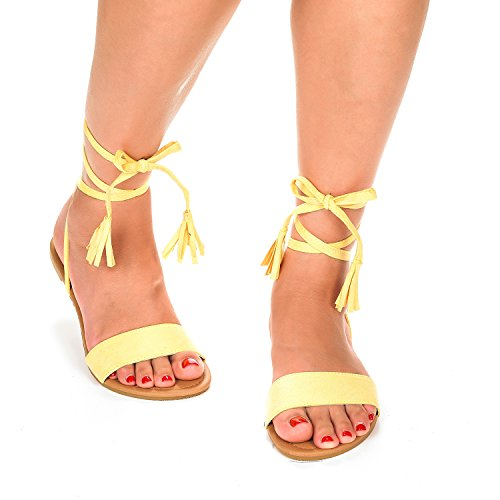 27ace501df1 Dream Pairs Women s MAXIM Yellow Ankle Strap Gladiator Flat Sandals - 10 M  US - Buy Online in UAE.