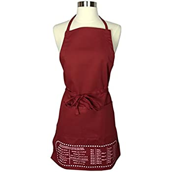The Smart Baker Cheat Sheet Baking Apron with Measurement Conversions - As Seen on Shark Tank - Red