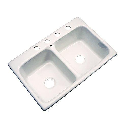Dekor Sinks 50401 Westport Double Bowl Cast Acrylic Kitchen Sink-4 Hole, 33