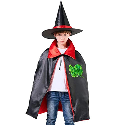Wodehous Adonis Irish Clover St Patricks Day Kids Halloween Costumes Witch Wizard Dress Up Cloak With Pointed Hat -