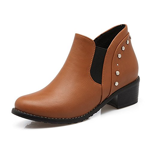 AllhqFashion Womens Ankle-high Pull-on Soft Material Kitten-Heels Round Closed Toe Boots Brown nfzrxYOteV