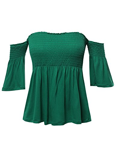 Casual Solid Off Shoulder Smocked Top Kelly Green L ()