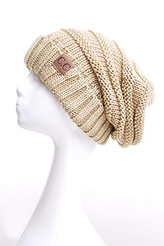 ScarvesMe CC Women Trendy Warm Metallic Oversized Chunky Soft Oversized Cable Knit Slouchy Beanie