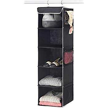 """Zober 5-Shelf Hanging Closet Organizer - 6 Side Mesh Pockets Breathable Polypropylene Hanging Shelves - for Clothes Storage and Accessories, (Black) 12"""" x 11 ½ """" x 42"""""""