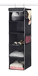 "Zober 5-Shelf Hanging Closet Organizer - 6 Side Mesh Pockets Breathable Polypropylene Hanging Shelves - for Clothes Storage and Accessories, (Black) 12"" x 11 ½ "" x 42"""