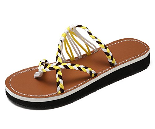 Women's Sandals Palm Yellow Leaf Flat Z Shoes Braided Flat Rope Summer Sandals Maybest UBgAxA