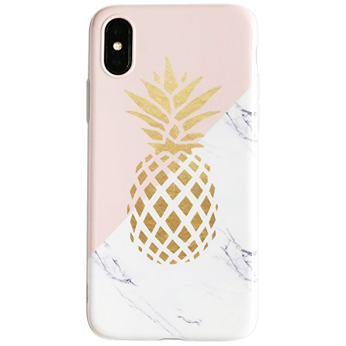 iPhone-X-Case-for-Girls-Flexible-Soft-Slim-Fit-Full-Protective-Cute-Shell-Phone-Case-with-Marble-and-Golden-Pineapple-Pattern-for-iPhone-X-58-Inch-Marble-Pineapple