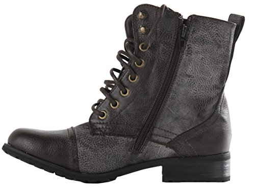 ShoeFashionista Army Brown Up Ladies Style Worker Ankle Brown Style Military 14 Womens Boots Lace r0Opwr