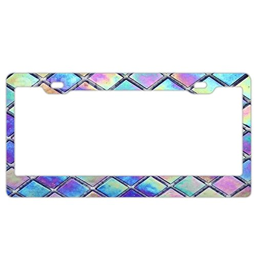 YEX Abstract Iridescent Geometric License Plate Frame Car Tag Frame Auto License Plate Holder 12