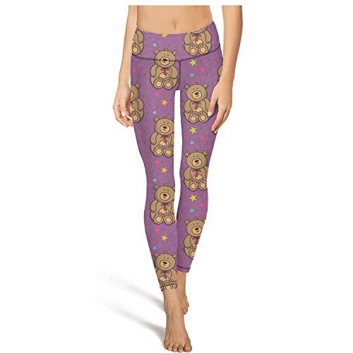 PLOKINC Camo Yoga Pants for Womens Workout Leggings a Cute Teddy Bear Fit Pockets Opaque Tights