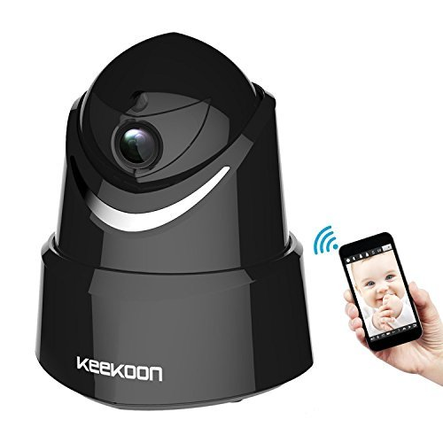 KEEKOON HD 1080P Wireless/Wired WiFi IP Camera, Baby Monitor with Two-Way Talk & Pan/Tilt & Night Vision (Black)