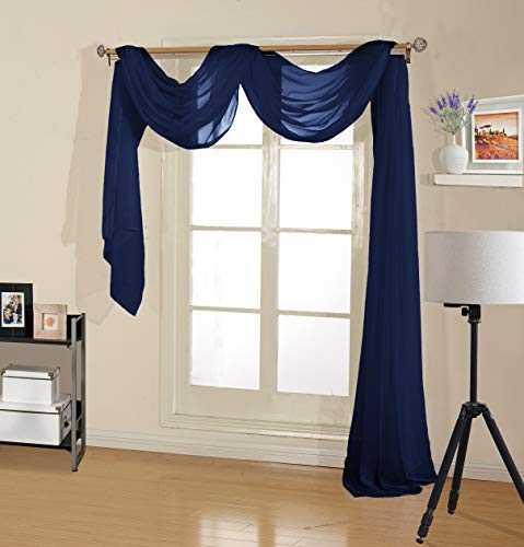 Decotex Premium Quality Sheer Voile Scarf Valance for Home & Event Designs (54