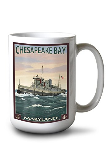 Lantern Press Chesapeake Bay, Maryland - Tugboat Scene (15oz White Ceramic Mug)