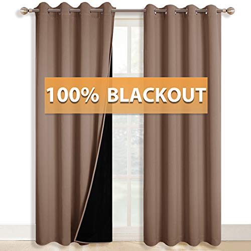 RYB HOME Decor Curtains 100% Blackout, Complete Blackout Curtains for Bedroom Window Drapes, Insulated Draperies for Living Room Door Curtains, Width 52 inches by Length 84 inches, Mocha, 1 Pair (Door Style Patio Country Curtains)