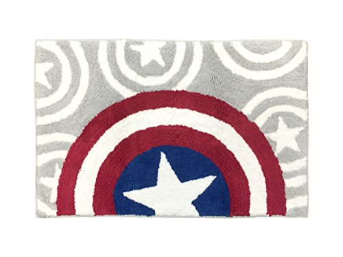 Marvel Captain America Tufted Cotton Bath Rug, Red/White/Blue/Gray
