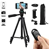 HITSLAM Cell Phone Tripod 42 Inch 106cm Aluminum Lightweight Phone Tripod for Apple Samsung Huawei Smartphone, Camera with Bluetooth Remote Control, Carrying Bag and Gopro Mount (Black)