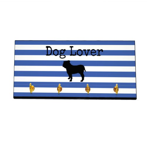 Striped Dog Lover Key and Leash Hanger - Bulldog (Color=Blue) by 4WoodenShoes