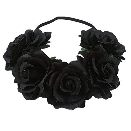 Women Girl Large Rose Flower Wedding Beach Tiara Crown Hair headband Garland (Color - Black)