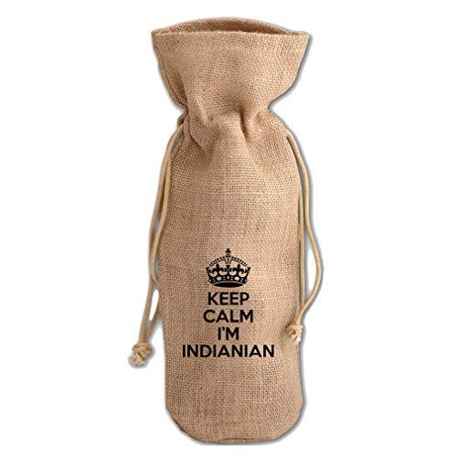 Keep Calm, I'M Indianian Indiana Jute Burlap Wine Drawstring Bag