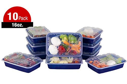 ISO Meal Prep Containers with Lids Certified BPA-Free Stackable Reusable Microwave/Dishwasher/Freezer Safe 16 oz, 10 Count, NAVY BLUE