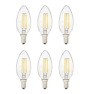 AmazonBasics 40 Watt Equivalent, All Glass, Dimmable, B11 LED Light Bulb | Soft White, 6-Pack