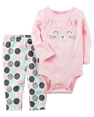 Carter's Baby Girls' 2 Piece Cat Face Bodysuit and Pants Set, Pink Kitty, 6 Months