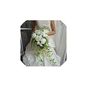 FAT BIG CAT 2019 Waterfall White Wedding Flowers Bridal Bouquets Artificial Wedding Bouquets Rose S12 45