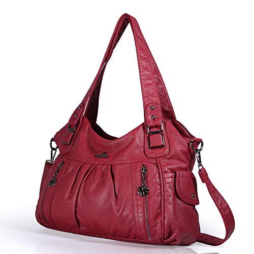 Red Handbags Capacity Women Purses Large Women 0062 Washed Leather Shoulder Angelkiss Handbags Bags for O46qOcd