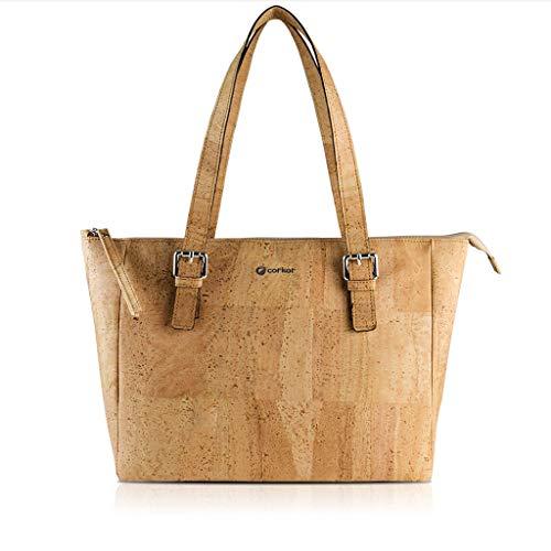 Corkor Cork Purse Vegan Handbag for Women   Cruelty Free Satchel Non Leather   Roomy Bag Natural Color