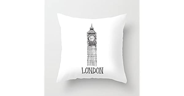 Amazon.com: Decorativos Funda De Almohada Londres Blanco Y ...