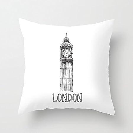 Decorativa Funda de almohada de blanco y negro de Londres ...