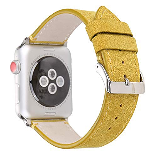 44mm/42mm Matte Calf Genuine Leather Strap Wrist Band with Secure Metal Clasp Buckle Compatible for Apple Watch Series 4/3/2/1 Yellow