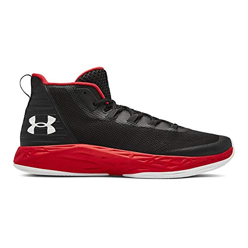 Under Armour Men's Jet Mid Basketball Shoe, Black (004)/Red, 10 M US