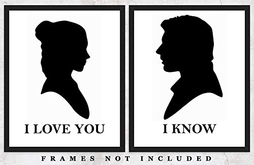 Hans Solo and Princess Leia Typography Wall Art