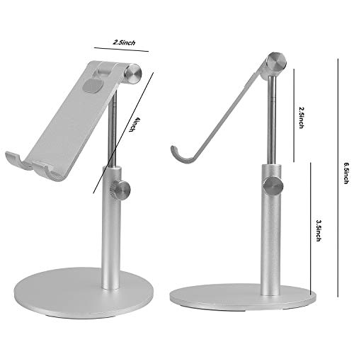 Co-Goldguard Tablet Stand Cell Phone Desk Holder Aluminum Desktop Stand Solid Anti-Slip Portable Universal Holders Adjustable Compatible with All Mobile Smart Phone Tablet,Silver