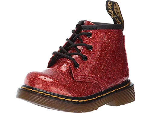 Dr. Martens Kid's Collection Baby Girl's 1460 Patent Glitter Infant Brooklee Boot (Toddler) Red Multi Coated Glitter 5 M UK -