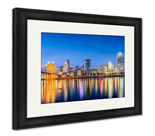(Ashley Framed Prints Cincinnati, Ohio, USA Skyline, Wall Art Home Decoration, Color, 34x40 (Frame Size), Black Frame,)