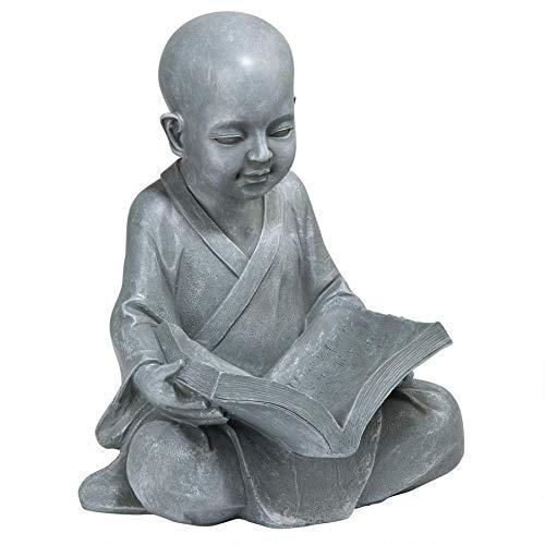 Design Toscano Baby Buddha Studying The Five Precepts Asian Decor Garden Statue, 12 Inch, Greystone (Sculpture Buddha Garden)