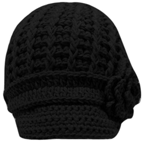 Simplicity Women's Hand Knitted Beanie Newsboy Hat with Visor, 1127_Black