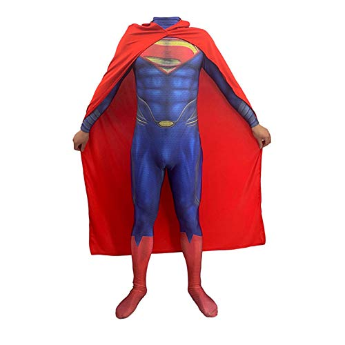 QXMEI Superman Steel Clothing Body Tights Cosplay Adult Children Anime Role Performance -