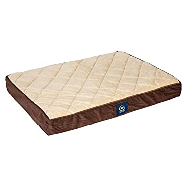 Serta Orthopedic Quilted Pillowtop Dog Bed, Large, Brown