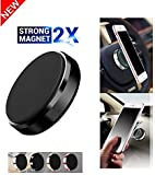 LXCN® Universal Magnet Phone Car Mount Holder for Windshield/Dashboard | Portable Pocket Sized | Lightweight | Travel Stand for All Mobile Phones (Black)