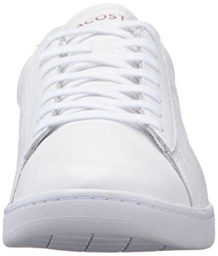 Lacoste Heren Carnaby Evo Fashion Sneaker Wit Bordeauxrood