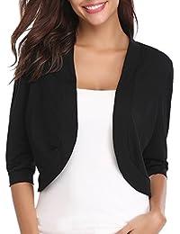 776b15bd2f2 Women Open Front Cardigan 3 4 Sleeve Long Sleeve Cropped Bolero Shrug