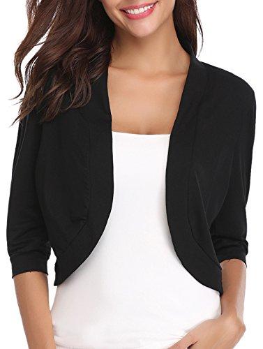 iClosam Women Open Front Cardigan 3/4 Sleeve Long Sleeve Cropped Bolero Shrug (Black Knit, Medium)