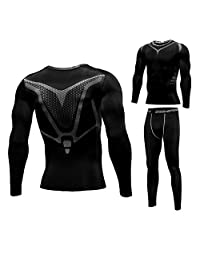 1Bests Men's Sports Fitness Tight Pants Long Sleeve T Shirts Compression Sets