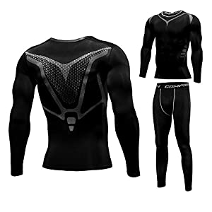 1Bests Men's Fitness Compression T Shirt Sports Tights Long Sleeve Quick Drying Elastic Elite Set
