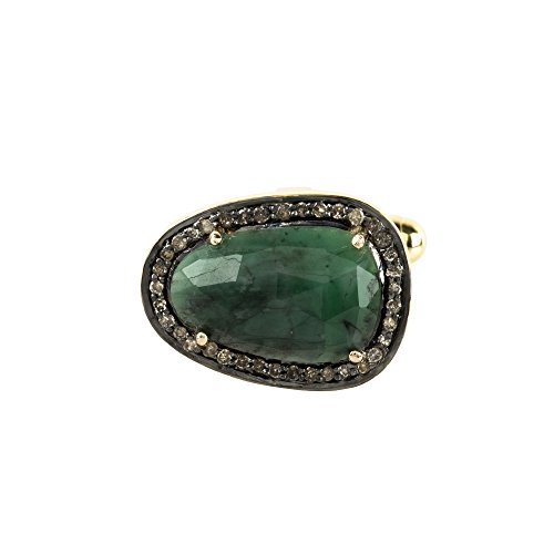 Emerald Cufflink Gold Champagne Diamonds