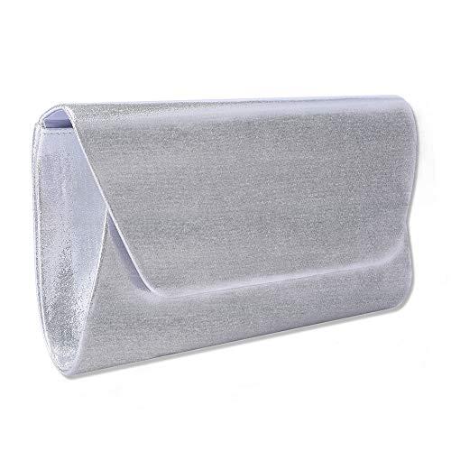 Wedding Evening Silver Clutches WALLYN'S Bags Party Shouder amp; Envelope Handbag Bag Flap Purse Women Dazzling For Z5q7wngx